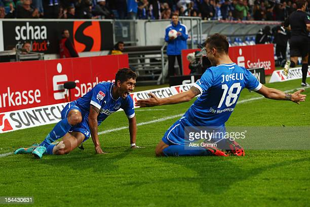 Joselu of Hoffenheim celebrates his team's second goal with team mate Roberto Firmino during the Bundesliga match between 1899 Hoffenheim and SpVgg...