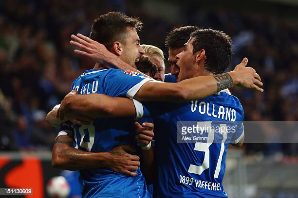 Joselu of Hoffenheim celebrates his team's second goal with team mates during the Bundesliga match between 1899 Hoffenheim and SpVgg Greuther Fuerth...