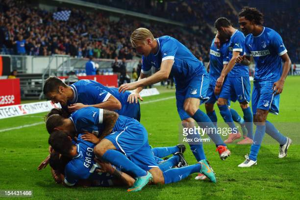 Joselu of Hoffenheim celebrates his team's third goal with team mates during the Bundesliga match between 1899 Hoffenheim and SpVgg Greuther Fuerth...