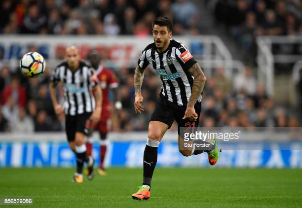 Joselu of Newcastle in action during the Premier League match between Newcastle United and Liverpool at St James Park on October 1 2017 in Newcastle...
