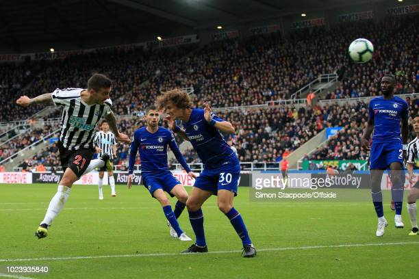 Joselu of Newcastle scores their 1st goal during the Premier League match between Newcastle United and Chelsea at St James' Park on August 26 2018 in...