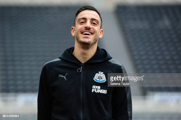Joselu of Newcastle United arrives for the Premier League match between Newcastle United and Swansea City at StJames' Park on January 13 in Newcastle...