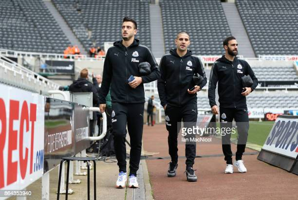 Joselu of Newcastle United arrives with team mates during the Premier League match between Newcastle United and Crystal Palace at St James Park on...