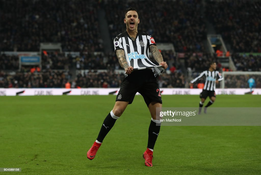 Joselu of Newcastle United celebrates after he scores his team's first goal during the Premier League match between Newcastle United and Swansea City at St. James Park on January 13, 2018 in Newcastle upon Tyne, England.