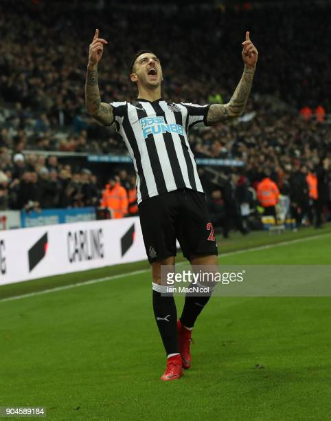 Joselu of Newcastle United celebrates after he scores his team's first goal during the Premier League match between Newcastle United and Swansea City...