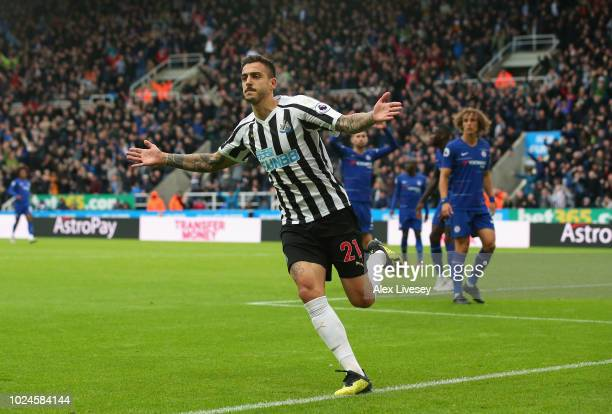 Joselu of Newcastle United celebrates after scoring his goal during the Premier League match between Newcastle United and Chelsea FC at St James Park...