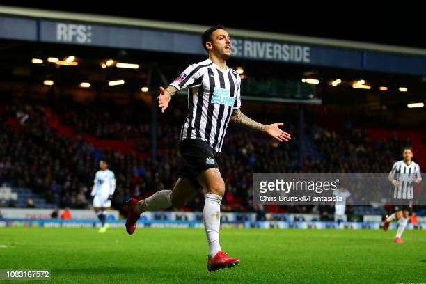 Joselu of Newcastle United celebrates scoring his side's third goal during the FA Cup Third Round Replay match between Blackburn Rovers and Newcastle...
