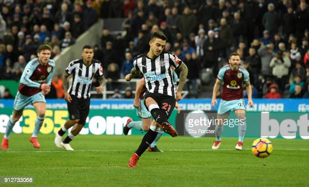 Joselu of Newcastle United misses a penalty during the Premier League match between Newcastle United and Burnley at St James Park on January 31 2018...