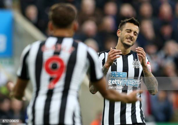 Joselu of Newcastle United reacts during the Premier League match between Newcastle United and AFC Bournemouth at St James Park on November 4 2017 in...