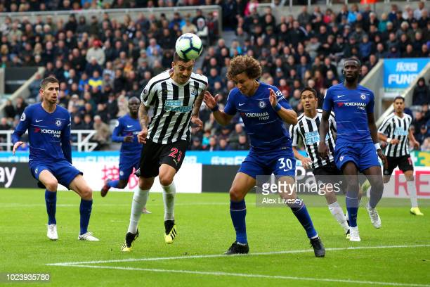 Joselu of Newcastle United scores his team's first goal during the Premier League match between Newcastle United and Chelsea FC at St James Park on...