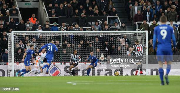Joselu of Newcastle United scores to make it 10 during the Premier League match between Newcastle United and Leicester City at St James Park on...