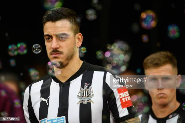 Joselu of Newcastle United walks out of the tunnel during the Premier League match between West Ham and Newcastle United at London Stadium on...