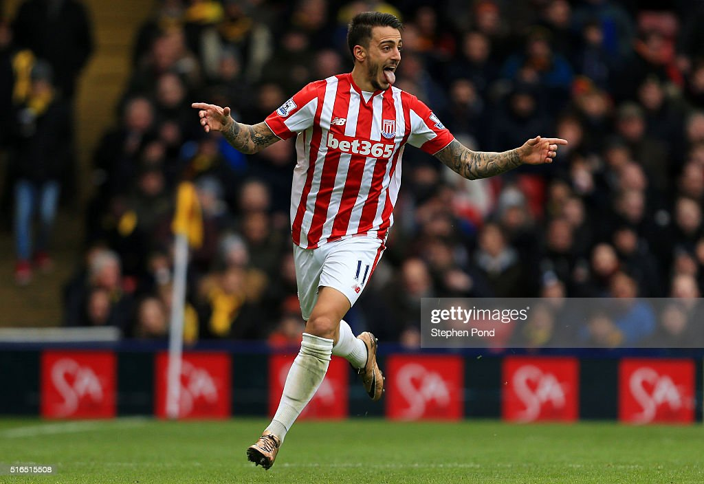 Joselu of Stoke City celebrates scoring his team's second goal during the Barclays Premier League match between Watford and Stoke City at Vicarage Road on March 19, 2016 in Watford, United Kingdom.