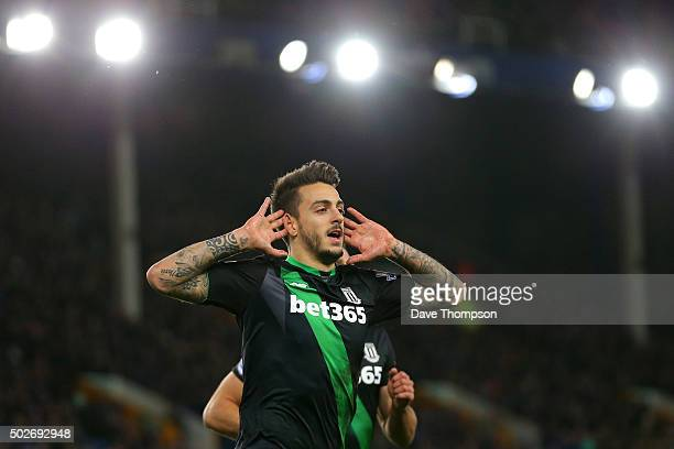 Joselu of Stoke City celebrates scoring his team's third goal during the Barclays Premier League match between Everton and Stoke City at Goodison...