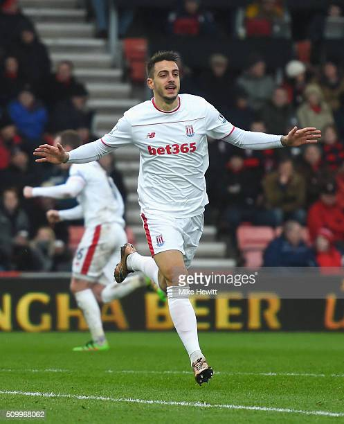 Joselu of Stoke City celebrates scoring his team's third goal during the Barclays Premier League match between AFC Bournemouth and Stoke City at...