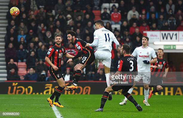 Joselu of Stoke City heads the ball to score his team's third goal during the Barclays Premier League match between AFC Bournemouth and Stoke City at...