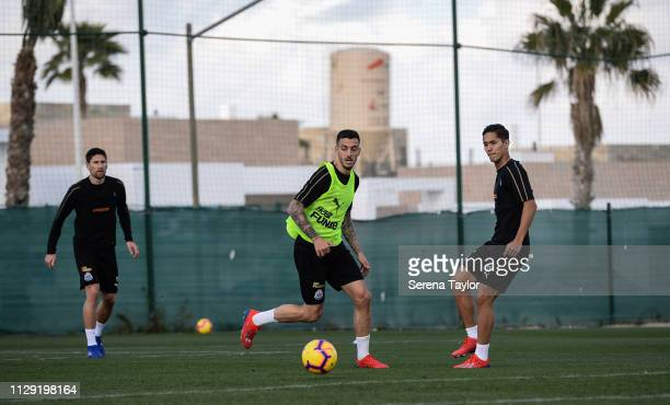 Joselu passes the ball as Federico Fernandez and Yoshinori Muto look on during the Newcastle United warm weather training session at La Finca Golf...
