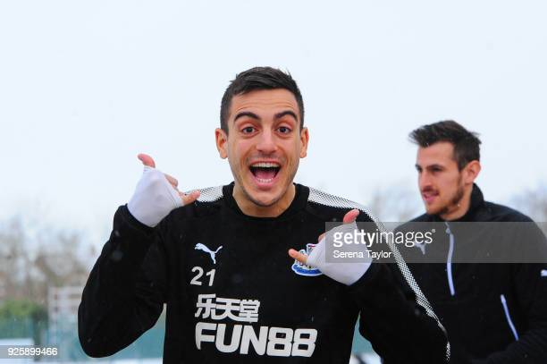 Joselu smiles as he walks outside during the Newcastle United Training Session at the Newcastle United Training Centre on March 1 in Newcastle upon...