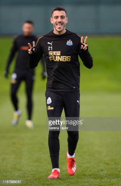 Joselu smiles for the camera during the Newcastle United Training Session at the Newcastle United Training Centre on March 22 2019 in Newcastle upon...