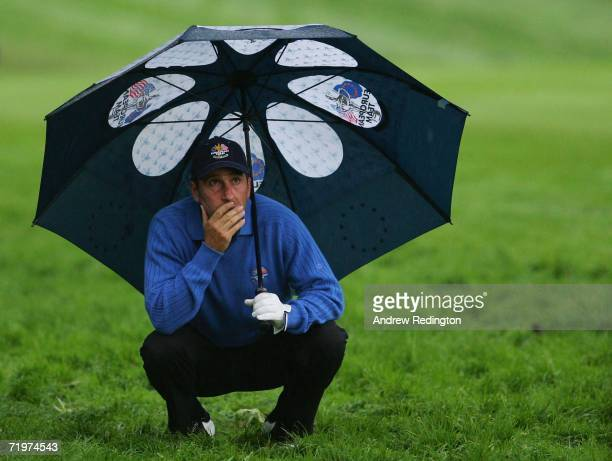 JoseMaria Olazabal of Europe contemplates his second shot on the 2nd hole during the morning fourballs on the second day of the 2006 Ryder Cup at The...