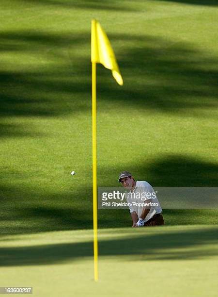 JoseMaria Olazabal of Spain chips to the green during the US Masters Golf Tournament held at the Augusta National Golf Club in Georgia circa April...