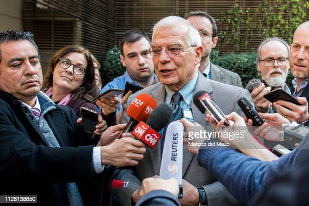 Josep Borrell, Spain's foreign minister, speaks about situation with Venezuela during a press briefing in Palacio de Viana.