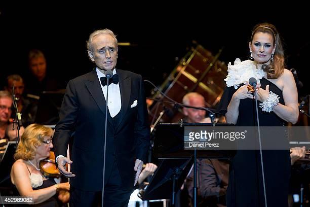 Josep Carreras and Ainhoa Arteta perfom during the Starlite Festival on July 31 2014 in Marbella Spain