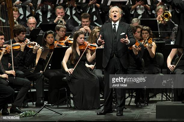 Josep Carreras performs on stage during Festival del Millenni at Gran Teatre Del Liceu on February 7 2015 in Barcelona Spain