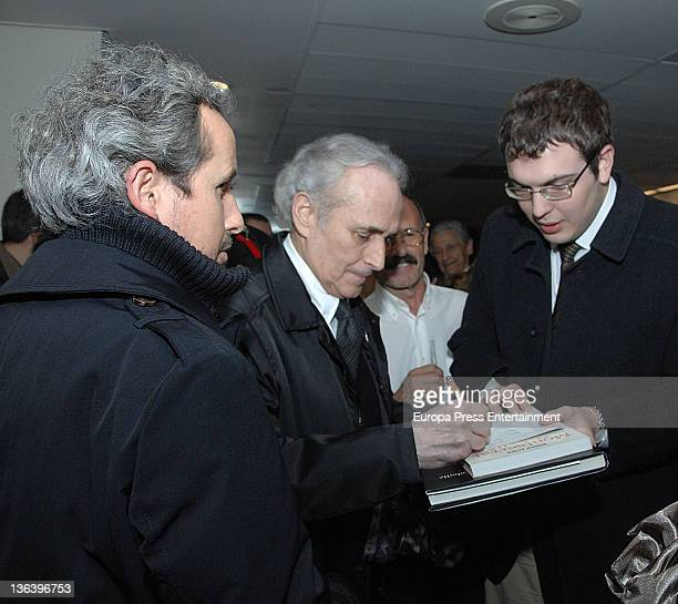 Josep Carreras signs autographs during the concert commemorating the 50th anniversary of the debut of Montserrat Caballe at Gran Teatre del Liceu on...