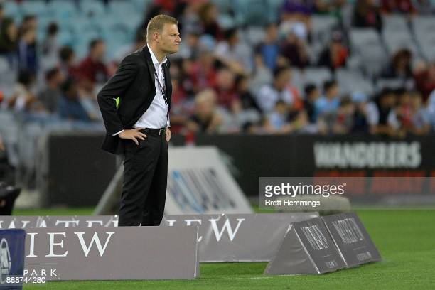 Josep Gombau coach of the Wanderers looks on during the round 10 ALeague match between the Western Sydney Wanderers and Sydney FC at ANZ Stadium on...