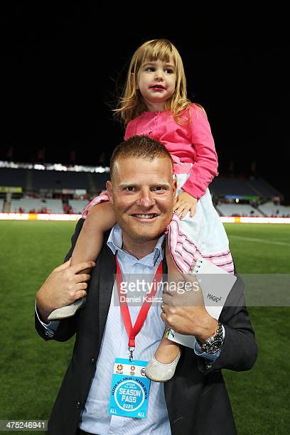 Josep Gombau Head coach of Adelaide United celebrates his teams victory with his daughter after the round 21 ALeague match between Adelaide United...