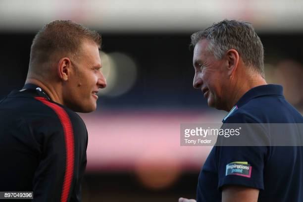 Josep Gombau of the Wanderers and Ernie Merrick of the Jets during the round 12 ALeague match between the Newcastle Jets and the Western Sydney...