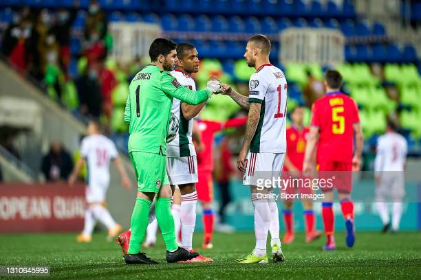 Josep Gomes of Andorra salutes Roland Varga of Hungary at the end of the FIFA World Cup 2022 Qatar qualifying Group I match between Andorra and...