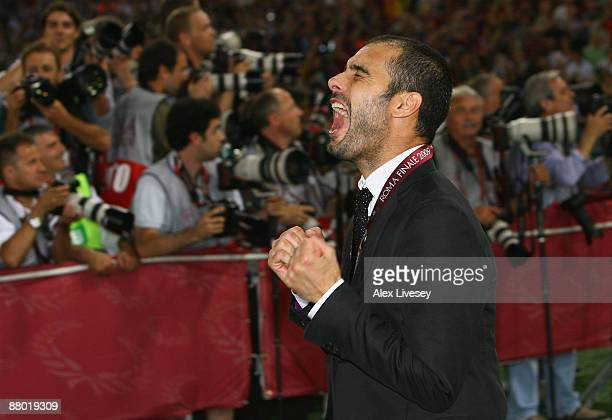 Josep Guardiola coach of Barcelona celebrates after Barcelona won 20 during the UEFA Champions League Final match between Barcelona and Manchester...