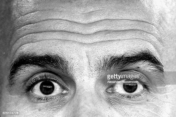 Josep Guardiola head coach of Bayern Muenchen looks on prior to the UEFA Champions League semi final first leg match between Club Atletico de Madrid...