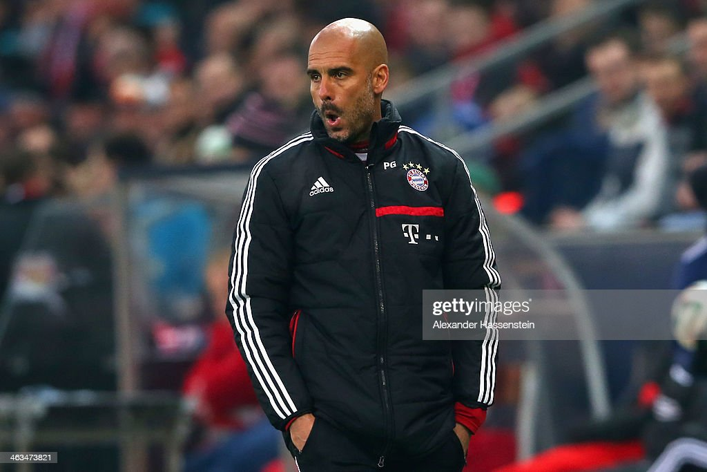 Josep Guardiola, head coach of Bayern Muenchen reacts during the friendly match between Red Bull Salzburg and FC Bayern Muenchen at Red Bull Arena on January 18, 2014 in Salzburg, Austria.