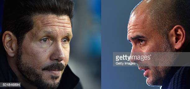PHOTO Image Numbers 521156498 and 515698692 In this composite image a comparison has been made between Manager Diego Simeone of Club Atletico de...