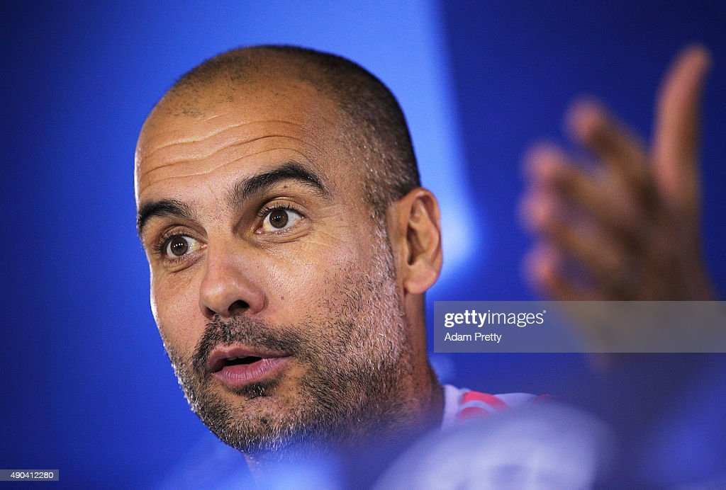 Josep Guardiola head coach of Bayern Munich speaks to the media during the Bayern Muenchen Training & Press Conference at the Bayern Munich training grounds on September 28, 2015 in Munich, Germany.