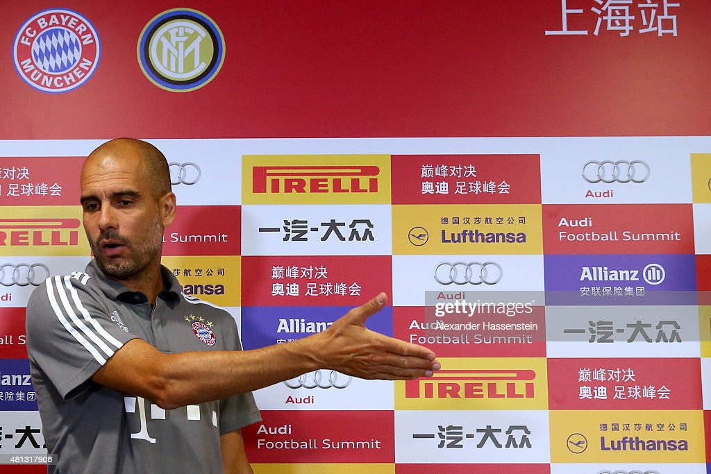 Josep Guardiola, head coach of FC Bayern Muenchen arrives for a press conference at Shanghai Stadium on day 3 of the FC Bayern Audi China Summer Pre-Season Tour on July 19, 2015 in Shanghai, China.