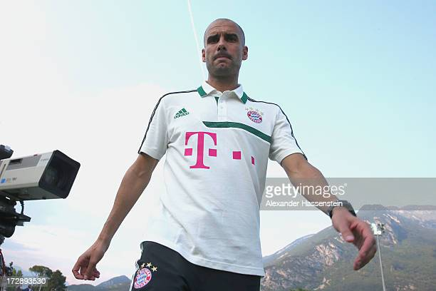 Josep Guardiola head coach of FC Bayern Muenchen arrives for the friendly match between Paulaner Traumelf and FC Bayern Muenchen at Campo Sportivo on...