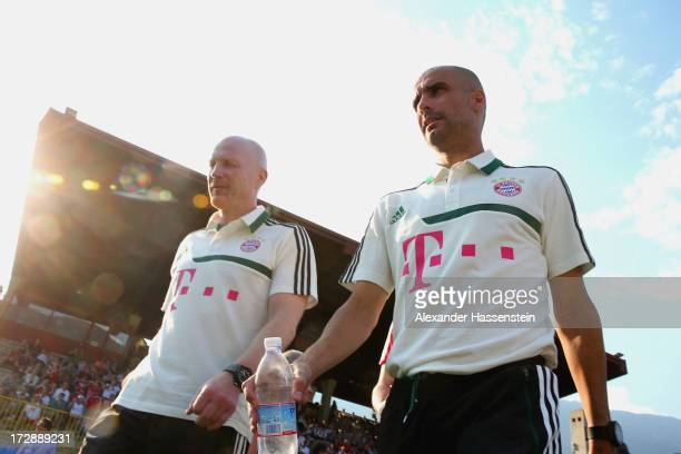 Josep Guardiola head coach of FC Bayern Muenchen arrives with Matthias Sammer Sporting director of FC Bayern Muenchen for the friendly match between...