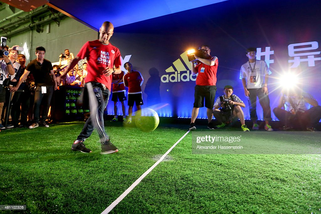 Josep Guardiola, head coach of FC Bayern Muenchen attends a adidas 2 vs 2 urban football match promotion even at Beijing Film Director Center during day 1 of the FC Bayern Audi China Summer Pre-Season Tour on July 17, 2015 in Beijing, China.