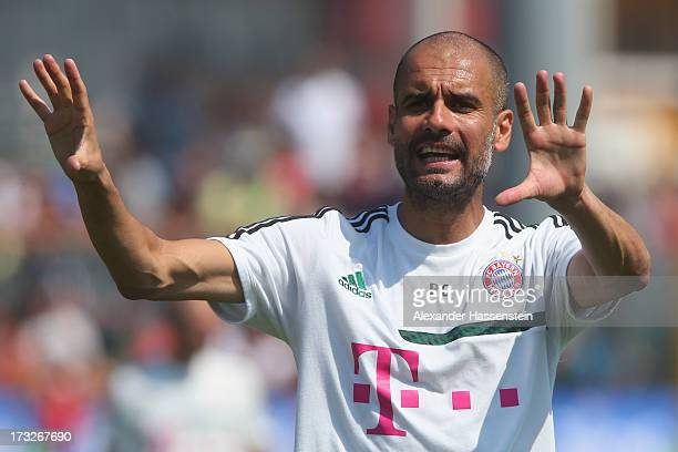 Josep Guardiola head coach of FC Bayern Muenchen gesture during a training session at Campo Sportivo on July 11 2013 in Arco Italy