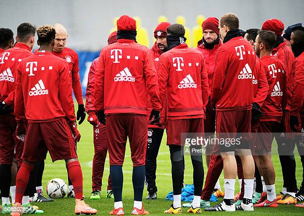 Josep Guardiola head coach of FC Bayern Muenchen gives instructions during training at the FC Bayern Muenchen training grounds on February 4 2016 in...