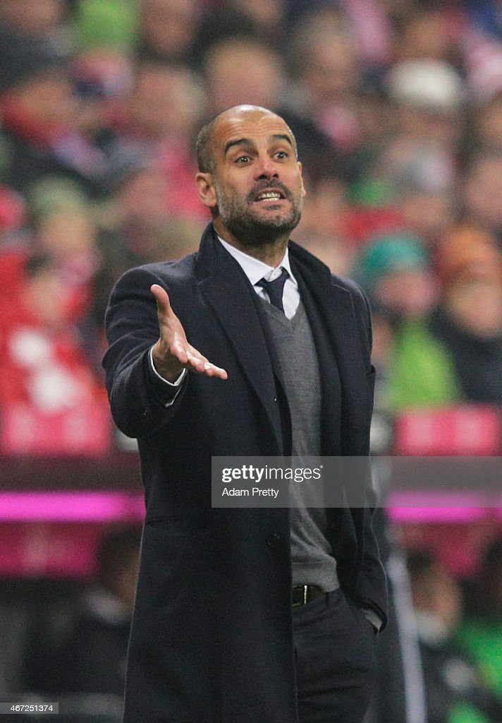 Josep Guardiola head coach of FC Bayern Muenchen looks dejected during the Bundesliga match between Bayern Muenchen and Borussia Moenchengladbach at Allianz Arena on March 22, 2015 in Munich, Germany.