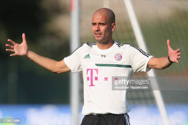 Josep Guardiola head coach of FC Bayern Muenchen reacts during a training session at Campo Sportivo on July 4 2013 in Arco Italy