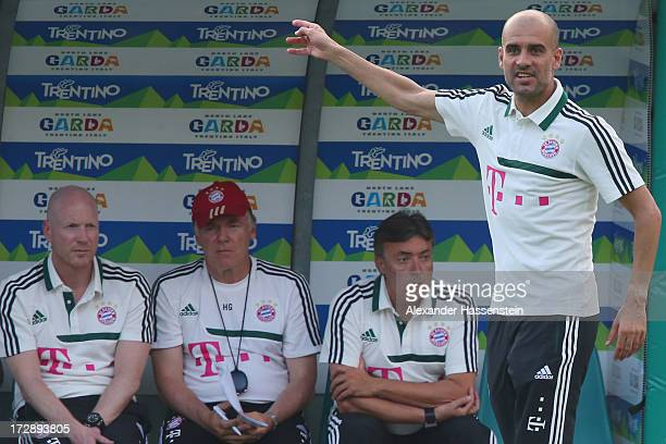 Josep Guardiola head coach of FC Bayern Muenchen reacts during the friendly match between Paulaner Traumelf and FC Bayern Muenchen at Campo Sportivo...