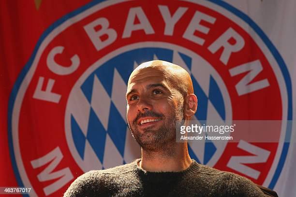 Josep Guardiola head coach of FC Bayern Muenchen smiles during his visit of FC Bayern Muenchen Fan Club Glonn 94 on January 19 2014 in Glonn Germany