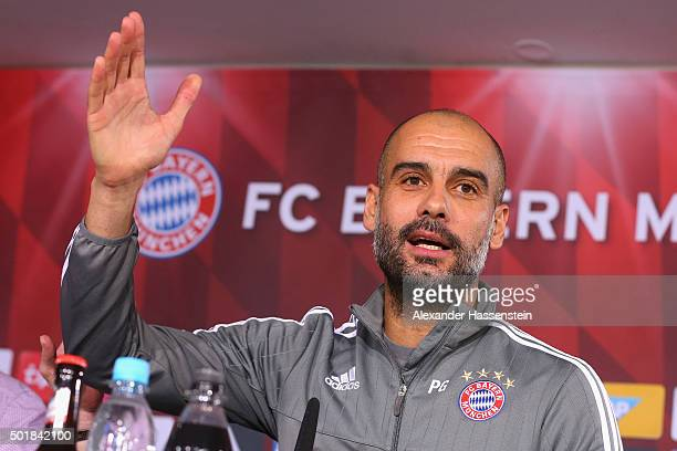 Josep Guardiola head coach of FC Bayern Muenchen speaks to the media during a press conference at Bayern`s training ground Saebener Strasse on...