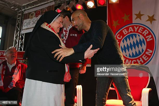 Josep Guardiola head coach of FC Bayern Muenchen welcomes sister Carmen honory member of Glonn 94 supporters during his visit of FC Bayern Muenchen...